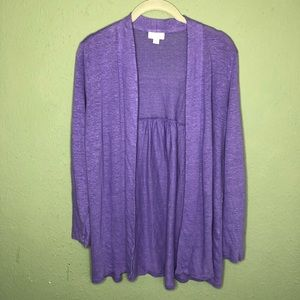 J. Jill Purple Linen Open Cardigan Medium